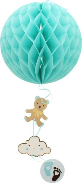 Wabenball Waben Papier Rund Party Baby Taufe BOY Junge Honeycomb Babyparty